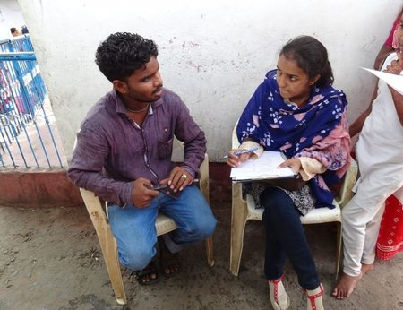 A person from Sightsavers being interviewed i India